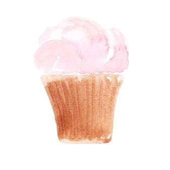 Waterverf zoete cupcake op een witte achtergrond