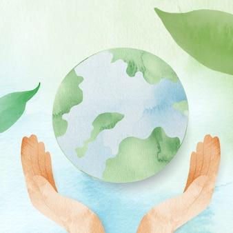 Waterverfachtergrond met handen die de wereldillustratie beschermen