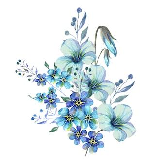 Waterverfboeket van blauwe vergeet-mij-nietjebloemen