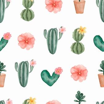Waterverfhand geschilderd patroon van tropische cactus en succulents in de pot.