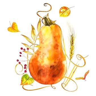 Waterverfhand getrokken illustratie van pompoen met verfplonsen. oranje eten. oranje pompoenen van de kunst de verse waterverf die op het wit worden geïsoleerd.