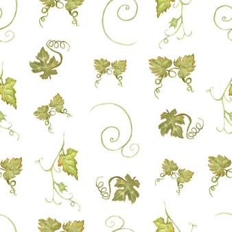 Waterverfhand getrokken naadloos groen en geel patroon met druiven.