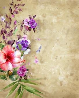 Waterverfillustratie het schilderen van bladeren en bloem met ruw