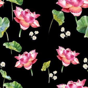Waterverfillustratie het schilderen van doorbladert en lotusbloem, naadloos patroon op dark
