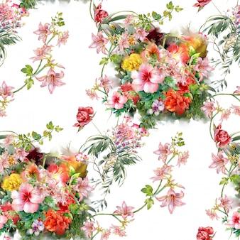 Waterverfillustratie van blad en bloemen, naadloos patroon op wit