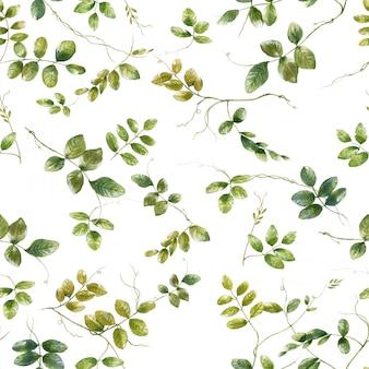 Waterverfillustratie van blad, naadloos patroon op witte achtergrond