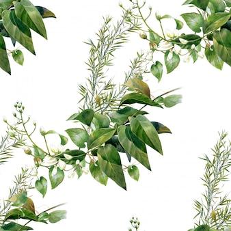 Waterverfillustratie van blad, naadloos patroon