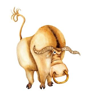 Waterverfillustratie van een bruine en beige stier met lange hoorns en een neusring