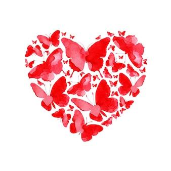 Waterverfillustratie van een huwelijkshart gemaakt van rode vlinders met liefde gelukkige valentijnsdag