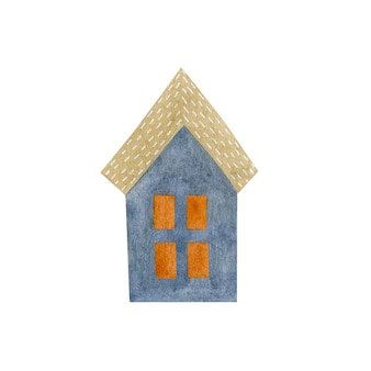 Waterverfillustratie van een klein huis dat op een witte achtergrond wordt geïsoleerd
