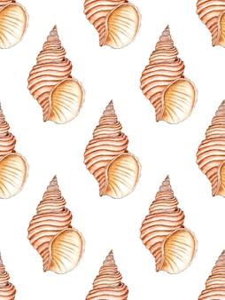 Waterverfillustratie van een naadloos patroon van mariene spiraalvormige schelpen in beige kleuren