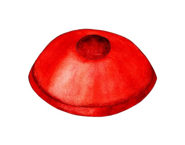Waterverfillustratie van een rode kegel verkeersbordwaarschuwing voor gevaar sportuitrusting voetbal