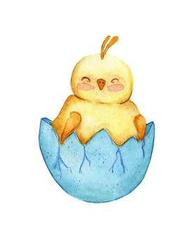 Waterverfillustratie van een schattige kleine gele kip die in een schaal zit. tekening van een uitgebroed kuiken voor kinderen. pasen, religie, traditie. geïsoleerd op een witte achtergrond. hand getekend.