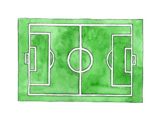 Waterverfillustratie van een schets van een voetbalveld groen grasstadion groene textuur met strepen
