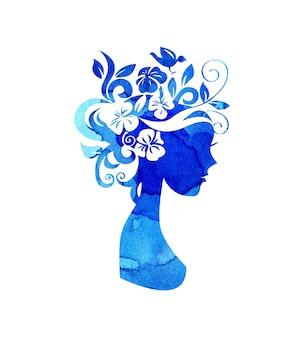 Waterverfillustratie van een silhouet van een meisje met bloemen in haar haar met blauwe verfvlekken