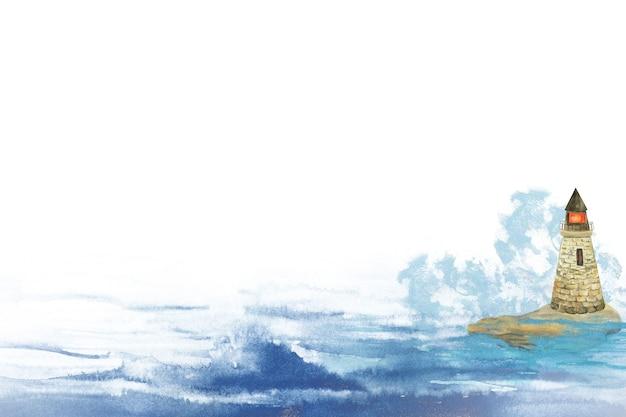 Waterverfillustratie van een vuurtoren die zich op een rots in de zee of de oceaan tussen de golven bevindt