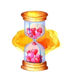 Waterverfillustratie van een zandloper met roze en rode binnen harten. klok op een gele aquarel ondergrond. geïsoleerd op witte achtergrond. met de hand getekend.