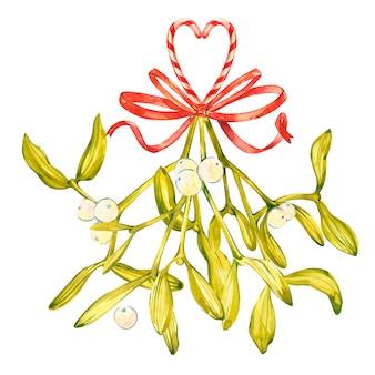 Waterverfillustratie van groene maretak. het symbool van een kus. kerstset op planken handgeschilderde lement voor een ansichtkaart.