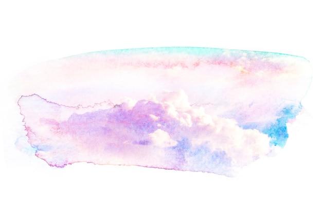 Waterverfillustratie van hemel met wolk.