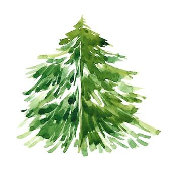 Waterverfillustratie van kerstboom op witte achtergrond.