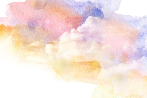 Waterverfillustratie van kleurrijke hemel met wolk