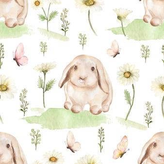 Waterverfpatroon met bloemen en een konijntje op witte achtergrond