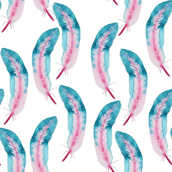 Waterverfpatroon met veren