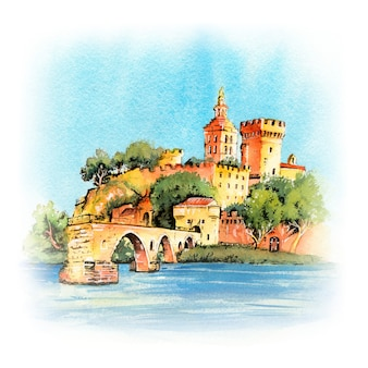 Waterverfschets van de beroemde middeleeuwse brug van saint benezet en het paleis van de pausen tijdens het blauwe uur van de avond, avignon, zuid-frankrijk