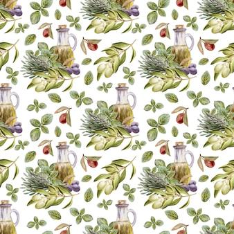 Waterverftekening naadloos patroon met bladeren, fruit en olijfolie. olie en aromatische kruiden