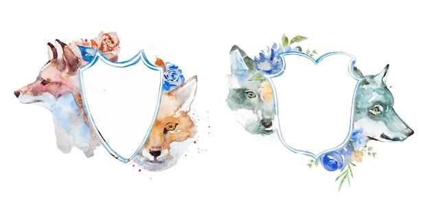 Waterverfvos en wolf met de illustraties van bloemenkaders