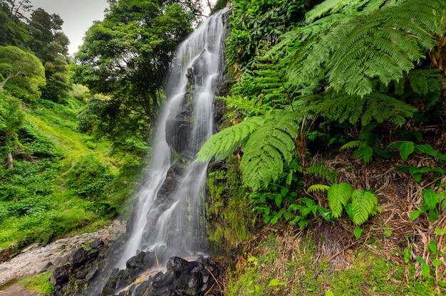 Waterwaterval midden in de natuur. sao miguel. azoren