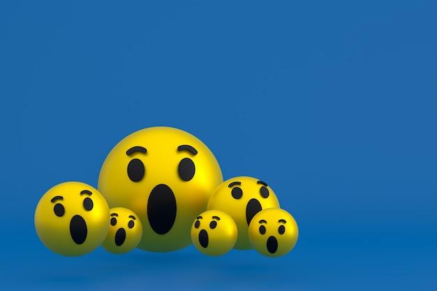 Wauw pictogram facebook reacties emoji 3d render, social media ballonsymbool op blauw