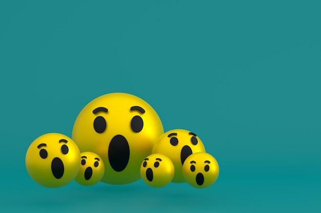 Wauw pictogram facebook reacties emoji 3d render, social media ballonsymbool op groen