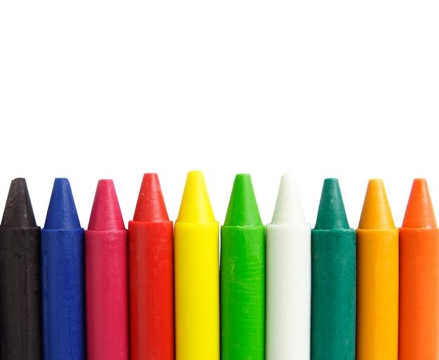 Wax kleurpotloden op een witte achtergrond