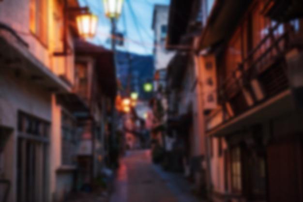 Wazig abstracte foto van yamanouchi onsen tow