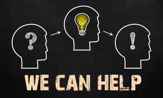 We kunnen helpen - groep van drie mensen met vraagteken, tandwielen en gloeilamp op schoolbordachtergrond.