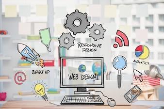 Web design concept met tekeningen