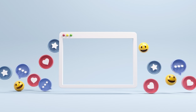 Web eenvoudig browservenster met sociale netwerkpictogrammen.