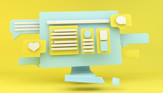 Web ontwerp computerconcept Premium Foto