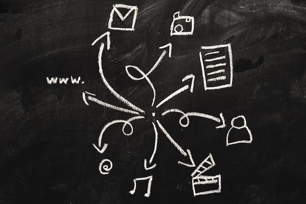 Web pictogrammenset getrokken op schoolbord met wit krijt