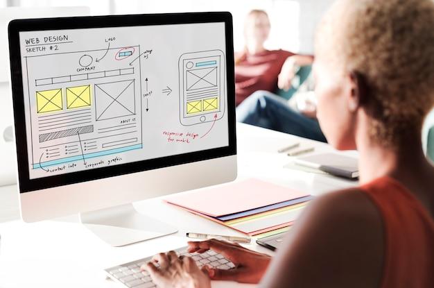 Webdesign online technologie inhoudsconcept