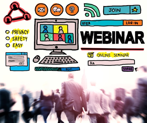 Webinar online seminar wereldwijd communicatieconcept