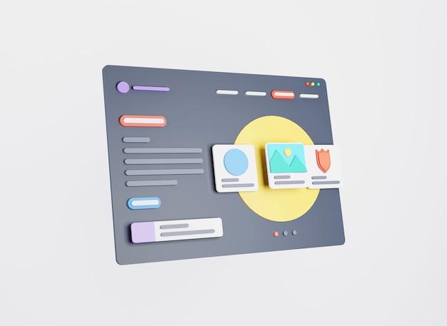 Webpagina-interfaceontwerp webontwerp en webontwikkelingsconcept 3d-rendering