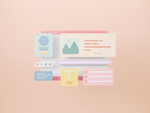 Webpagina-interfaceontwerp webontwerp en webontwikkelingsconcept optimalisatie van de gebruikersinterface 3d-rendering