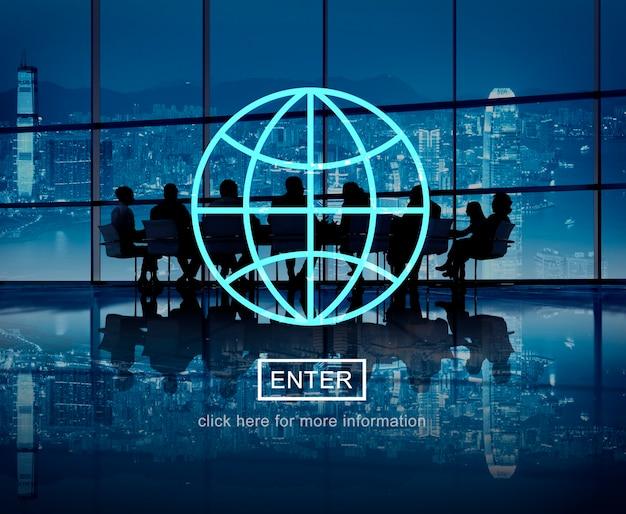 Webpagina voor wereldwijde zakelijke bijeenkomsten