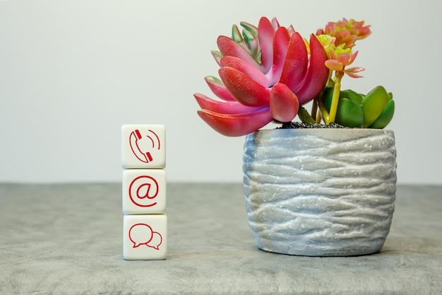 Website- en internetcontactpictogrammen op kubussen met een bloem op een witte achtergrond