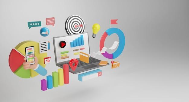 Webzoekmachine. digitale mediacampagne, contentmarketing, website, digitaal marketingconcept. 3d conceptuele illustratie