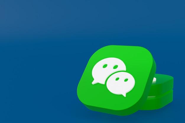 Wechat applicatie logo 3d-rendering op blauwe achtergrond