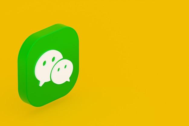 Wechat applicatie logo 3d-rendering op gele achtergrond