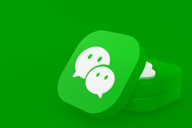 Wechat applicatie logo 3d-rendering op groene achtergrond